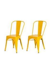 Kit 2 Cadeiras Tolix Iron Design Amarela Aco Industrial Sala Cozinha Jantar Bar
