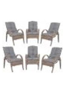Cadeiras 6Un P/ Jardim Lazer Edicula Varanda Descanso Fibra E Tramas Napoli Plus Argila A23