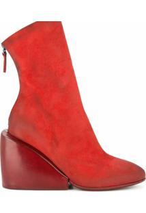 Marsèll Ankle Boot De Camurça - Vermelho