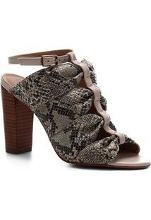 Sandália Shoestock Salto Bloco Couro Snake Drapeado - Feminino-Off White