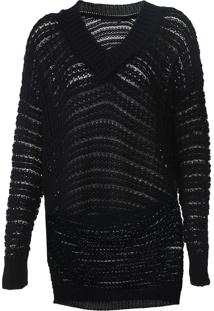 Suéter Sacada Tricot Ponto Trançado Preta