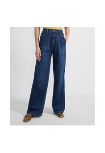 Calça Wide Leg Jeans Sem Estampa Com Pespontos