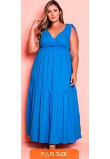 Vestido Longo Mel Azul Plus Size