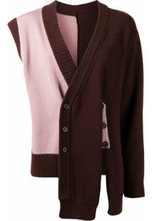Delada Cardigan Assimétrico De Lã - Marrom