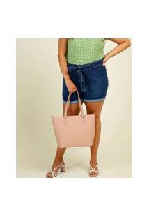 Bermuda Plus Size Feminina Jeans Tiras Amarração