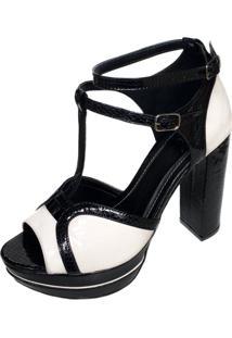 Sandália Blume Calçados Absolut Preto/Branco