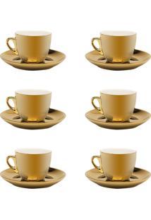 Jogo 6 Xícaras De Chá C/ Pires Wolff Porcelana 220Ml Dourado/Branco