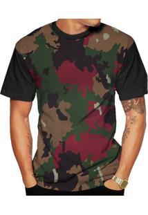 Camiseta Di Nuevo Colorida Estilosa Camuflada Street Wear Preta