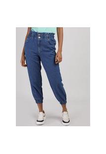 Calça Jeans Feminina Mom Jogger Cintura Super Alta Azul Escuro