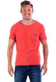 Camiseta Four Básica Bordada Gola Corte Fio - Goiaba