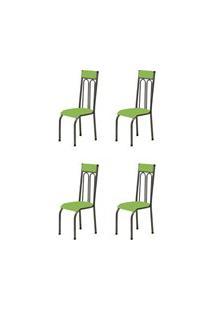 Kit 4 Cadeiras Anatômicas 0.120 Estofada Craqueado/Verde - Marcheli