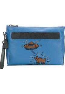 Coach Clutch De Couro 'X Keith Haring' - Azul