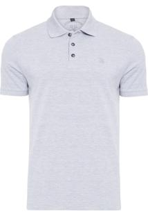Polo Masculina Simple Basic Mescla - Cinza