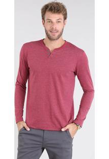 Camiseta Masculina Básica Manga Longa Gola Careca Vinho