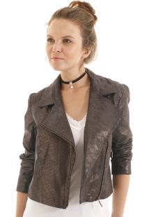 Jaqueta Leather Com Lapela Com Zíper Preto - Nude Aha