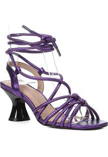 Sandália Couro Shoestock Salto Flare Metalizada Feminina - Feminino-Roxo
