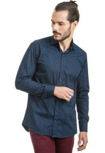 Camisa Di Sotti Estampada Azul Marinho - Masculino