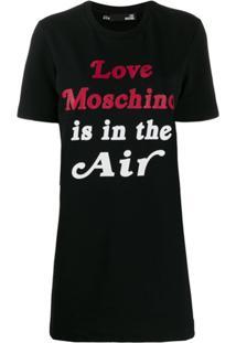 Love Moschino Vestido Com Estampa De Logo - Preto