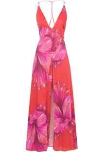 Macacão Feminino Floral Diana - Vermelho