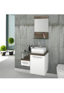 Gabinete Para Banheiro Com Cuba Quadrada Q32 E Espelheira Legno 631W Compace Branco/Carvalho Dark