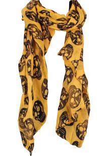 Lenço Real Arte Estampa Caveira Amarelo