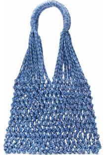 Nannacay Bolsa Tote Em Macramê - Azul