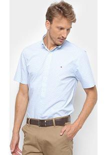 Camisa Tommy Hilfiger Ec Printed Houndstoo Masculina - Masculino-Azul Claro