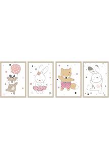 Quadro 60X160Cm Infantil Animais Felizes Moldura Preta Com Vidro Decorativo - Multicolorido - Dafiti
