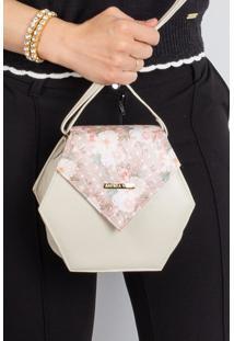 Mini Bolsa Tiracolo De Couro Gabi Marfim Floral - Multicolorido - Feminino - Dafiti