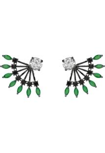 Brinco Ear Jacket The Ring Boutique Cristais Verde Esmeralda Zb Ródio Negro