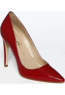 Scarpin Liso Com Recorte- Vermelho- Salto: 11Cmluiza Barcelos