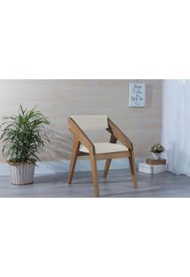 Poltrona Sala De Madeira Decorativa Off White Quadratto - Verniz Amendoa \ Tec.924-023 - 55X49X78 Cm