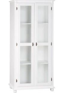 Cristaleira 2 Portas Mais 3 Prateleiras Laterais Em Madeira -Tommy Design