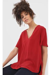 Blusa Seda Bobstore Assimétrica Vermelha
