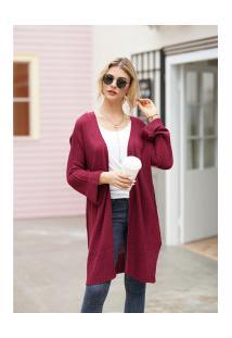 Cardigan De Lã Astana Feminino - Vinho
