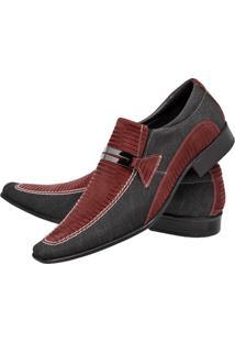 Sapato Social Gofer Lona E Estilizado Vermelho
