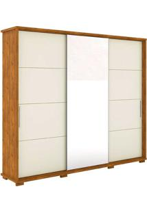Guarda Roupa 3 Portas Com Espelho New Fortuno - Robel - Nature / Off White