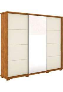 Guarda Roupa Casal 3 Portas Com Espelho New Fortuno - Robel - Nature / Off White