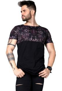 Camiseta Riviera Clothing Bifásica Cereja Long Line Preta