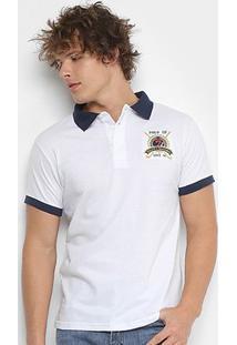 Camisa Polo Polo Up Manga Curta Masculino - Masculino-Branco