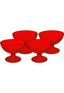 Conjunto 4 Taças De Sobremesa Cozy 10,5 X 10,5 X 8 Cm 150 Ml Vermelho Transparente Coza