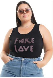 Body Fake Love Preto Miss Masy Plus