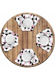 Jogo Americano Love Decor Para Mesa Redonda Wevans Triângulos Rosa Kit Com 4 Pçs