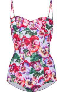 Dolce & Gabbana Violet Print Swimsuit - Azul