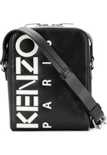 Kenzo Bolsa Tiracolo De Couro Com Logo - Preto