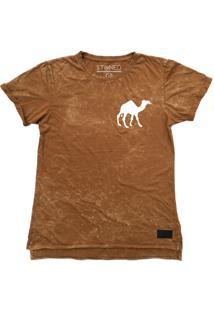 Camiseta Longline Stoned Estonada Camel Areia