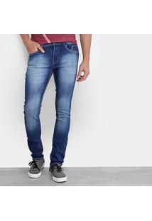 Calça Jeans Skinny Opera Rock Fit Estonada Masculina - Masculino-Azul