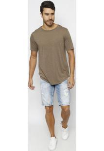 Bermuda Jeans Estonada Com PuãDos & Bigodes - Azul- Tuareg