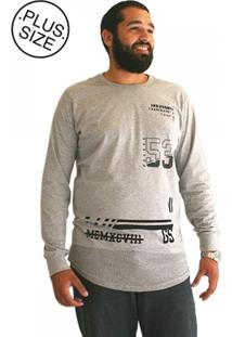 Camiseta Swag Gangster Plus Size Masculina Long Line Cinza