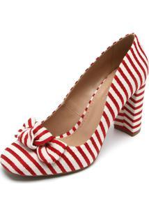 Scarpin Dafiti Shoes Listrado Vermelha